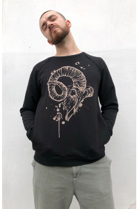 Sweatshirt Mark J.Brash, drawing Mutton skull